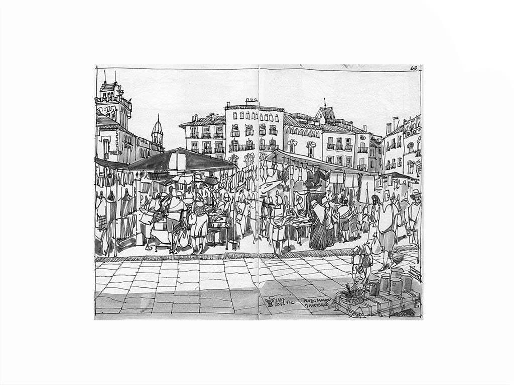 Street market drawing by Miguel Herranz. S Print with margin