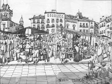 Load image into Gallery viewer, Street market drawing by Miguel Herranz. S Print without margin