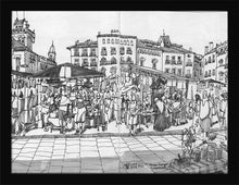 Load image into Gallery viewer, Street market drawing by Miguel Herranz. S Print without margin framed in black wood