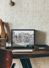 Load image into Gallery viewer, Street market drawing by Miguel Herranz.  Print without margin framed in black wood