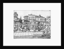 Load image into Gallery viewer, Street market drawing by Miguel Herranz. S Print with margin framed in black wood