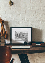 Load image into Gallery viewer, Street market drawing by Miguel Herranz.  Print with margin framed in black wood