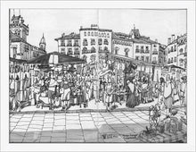Load image into Gallery viewer, Street market drawing by Miguel Herranz. S Print without margin framed in white wood