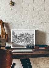Load image into Gallery viewer, Street market drawing by Miguel Herranz.  Print without margin framed in white wood