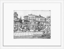 Load image into Gallery viewer, Street market drawing by Miguel Herranz. S Print with margin framed in white wood