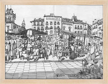 Load image into Gallery viewer, Street market drawing by Miguel Herranz. S Print without margin framed in natural wood