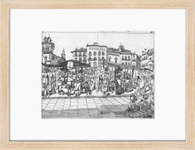 Load image into Gallery viewer, Street market drawing by Miguel Herranz. S Print with margin framed in natural wood