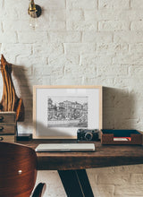 Load image into Gallery viewer, Street market drawing by Miguel Herranz.  Print with margin framed in natural wood