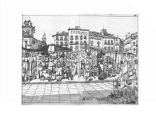 Load image into Gallery viewer, Street market drawing by Miguel Herranz. M Print with margin