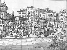 Load image into Gallery viewer, Street market drawing by Miguel Herranz. M Print without margin