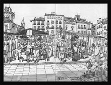Load image into Gallery viewer, Street market drawing by Miguel Herranz. M Print without margin framed in black wood