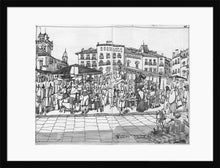 Load image into Gallery viewer, Street market drawing by Miguel Herranz. M Print with margin framed in black wood