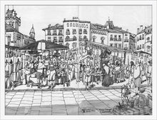 Load image into Gallery viewer, Street market drawing by Miguel Herranz. M Print without margin framed in white wood