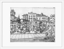 Load image into Gallery viewer, Street market drawing by Miguel Herranz. M Print with margin framed in white wood