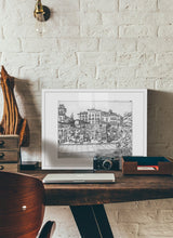 Load image into Gallery viewer, Street market drawing by Miguel Herranz.  Print with margin framed in white wood