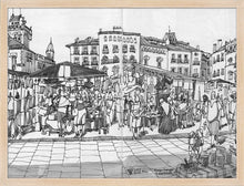 Load image into Gallery viewer, Street market drawing by Miguel Herranz. M Print without margin framed in natural wood