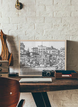Load image into Gallery viewer, Street market drawing by Miguel Herranz.  Print without margin framed in natural wood