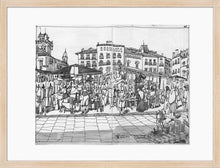 Load image into Gallery viewer, Street market drawing by Miguel Herranz. M Print with margin framed in natural wood