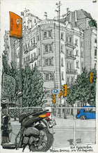Load image into Gallery viewer, Motorbike an orange traffic lights drawing by Miguel Herranz.  Main image