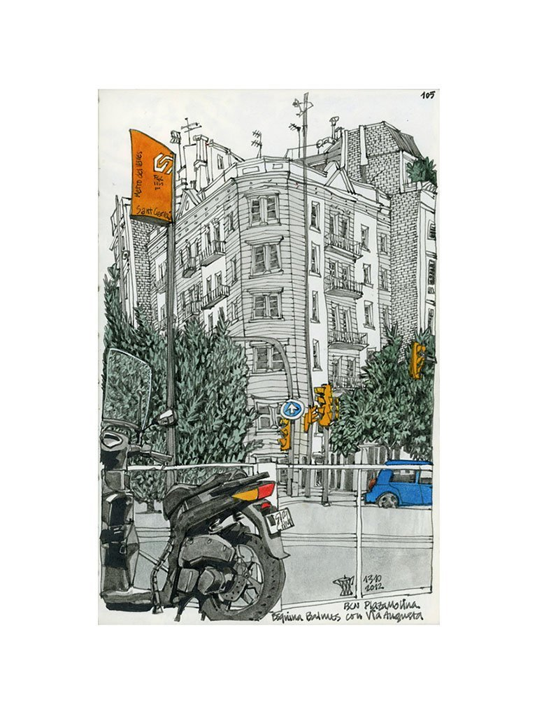 Motorbike an orange traffic lights drawing by Miguel Herranz. S Print with margin