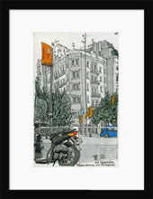 Load image into Gallery viewer, Motorbike an orange traffic lights drawing by Miguel Herranz. S Print with margin framed in black wood