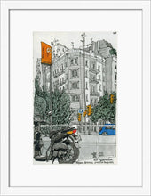 Load image into Gallery viewer, Motorbike an orange traffic lights drawing by Miguel Herranz. S Print with margin framed in white wood