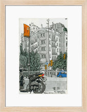 Load image into Gallery viewer, Motorbike an orange traffic lights drawing by Miguel Herranz. S Print with margin framed in natural wood