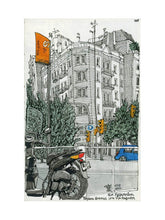 Load image into Gallery viewer, Motorbike an orange traffic lights drawing by Miguel Herranz. M Print with margin