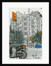 Load image into Gallery viewer, Motorbike an orange traffic lights drawing by Miguel Herranz. M Print with margin framed in black wood