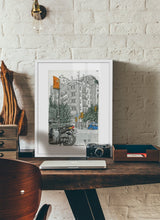Load image into Gallery viewer, Motorbike an orange traffic lights drawing by Miguel Herranz.  Print with margin framed in white wood