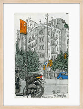 Load image into Gallery viewer, Motorbike an orange traffic lights drawing by Miguel Herranz. M Print with margin framed in natural wood