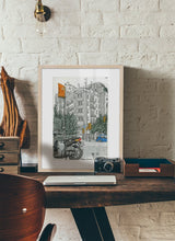 Load image into Gallery viewer, Motorbike an orange traffic lights drawing by Miguel Herranz.  Print with margin framed in natural wood