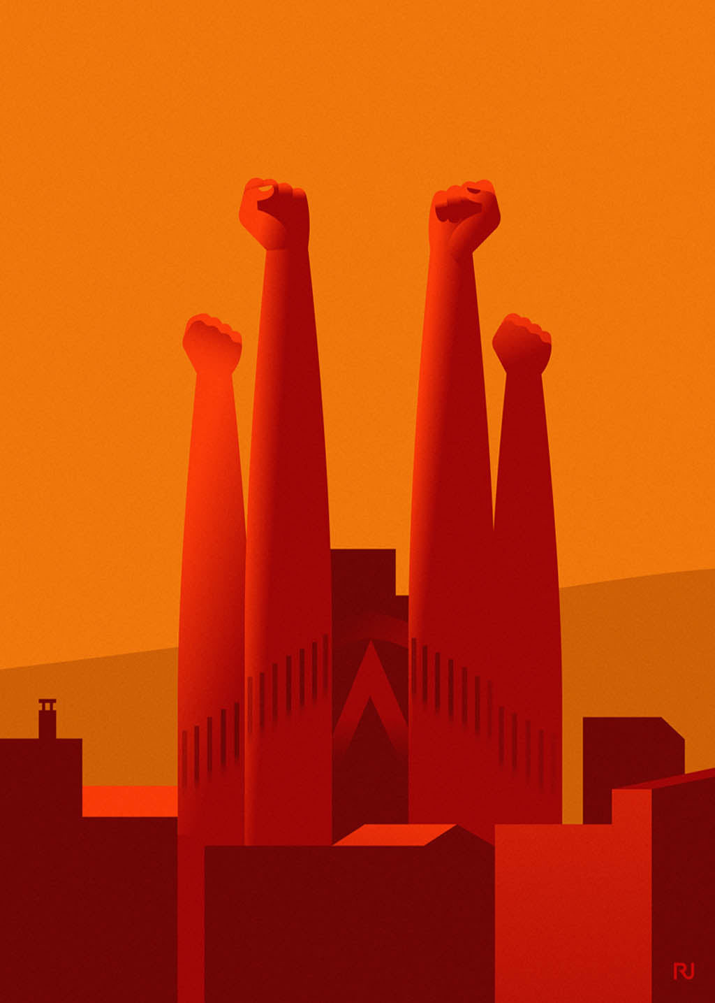 High fists instead of Sagrada Familia steeples. by Ricard Jorge. S Print without margin