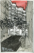 Load image into Gallery viewer, City street atompshere watercolor drawing by Miguel Herranz.  Main image