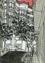 Load image into Gallery viewer, City street atompshere watercolor drawing by Miguel Herranz.  Detail