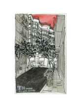 Load image into Gallery viewer, City street atompshere watercolor drawing by Miguel Herranz. S Print with margin