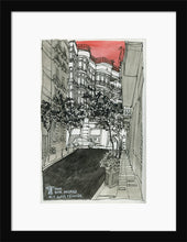 Load image into Gallery viewer, City street atompshere watercolor drawing by Miguel Herranz. S Print with margin framed in black wood