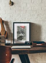 Load image into Gallery viewer, City street atompshere watercolor drawing by Miguel Herranz.  Print with margin framed in black wood