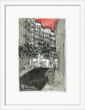 Load image into Gallery viewer, City street atompshere watercolor drawing by Miguel Herranz. S Print with margin framed in white wood