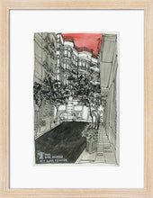 Load image into Gallery viewer, City street atompshere watercolor drawing by Miguel Herranz. S Print with margin framed in natural wood