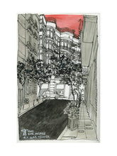 Load image into Gallery viewer, City street atompshere watercolor drawing by Miguel Herranz. M Print with margin