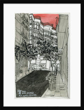 Load image into Gallery viewer, City street atompshere watercolor drawing by Miguel Herranz. M Print with margin framed in black wood