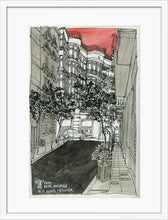 Load image into Gallery viewer, City street atompshere watercolor drawing by Miguel Herranz. M Print with margin framed in white wood