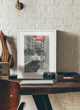 Load image into Gallery viewer, City street atompshere watercolor drawing by Miguel Herranz.  Print with margin framed in white wood