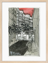 Load image into Gallery viewer, City street atompshere watercolor drawing by Miguel Herranz. M Print with margin framed in natural wood