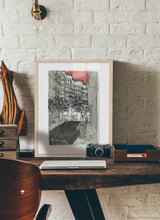 Load image into Gallery viewer, City street atompshere watercolor drawing by Miguel Herranz.  Print with margin framed in natural wood