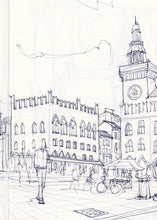 Load image into Gallery viewer, Main square sketch by Miguel Herranz.  Detail