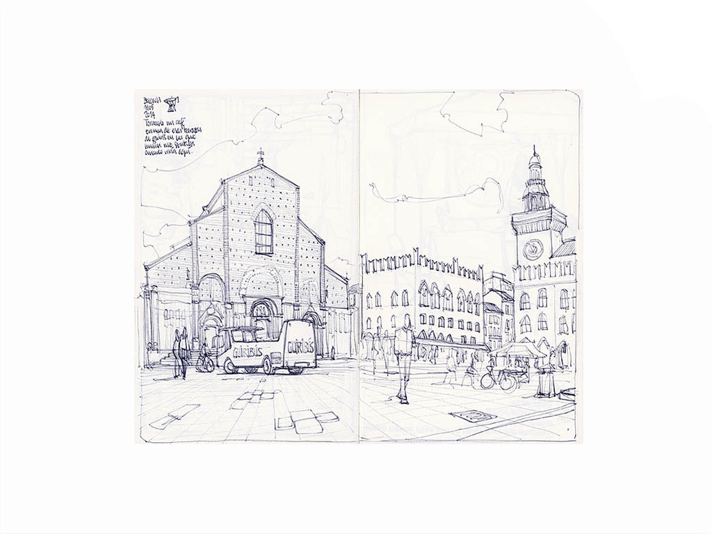 Main square sketch by Miguel Herranz. S Print with margin