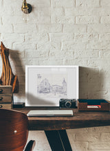 Load image into Gallery viewer, Main square sketch by Miguel Herranz.  Print with margin framed in white wood