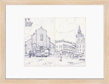 Load image into Gallery viewer, Main square sketch by Miguel Herranz. S Print with margin framed in natural wood
